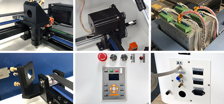 Detainles image od desktop co2 laser cutting engraving machine